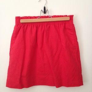 J Crew red linen pull-on mini skirt size 4